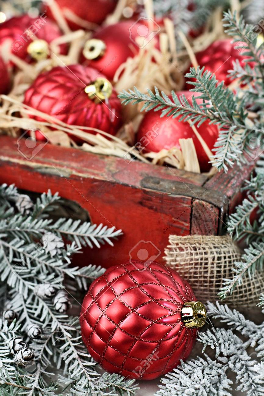 Glass Christmas Ornaments Packed In An Old Antique Wooden Box