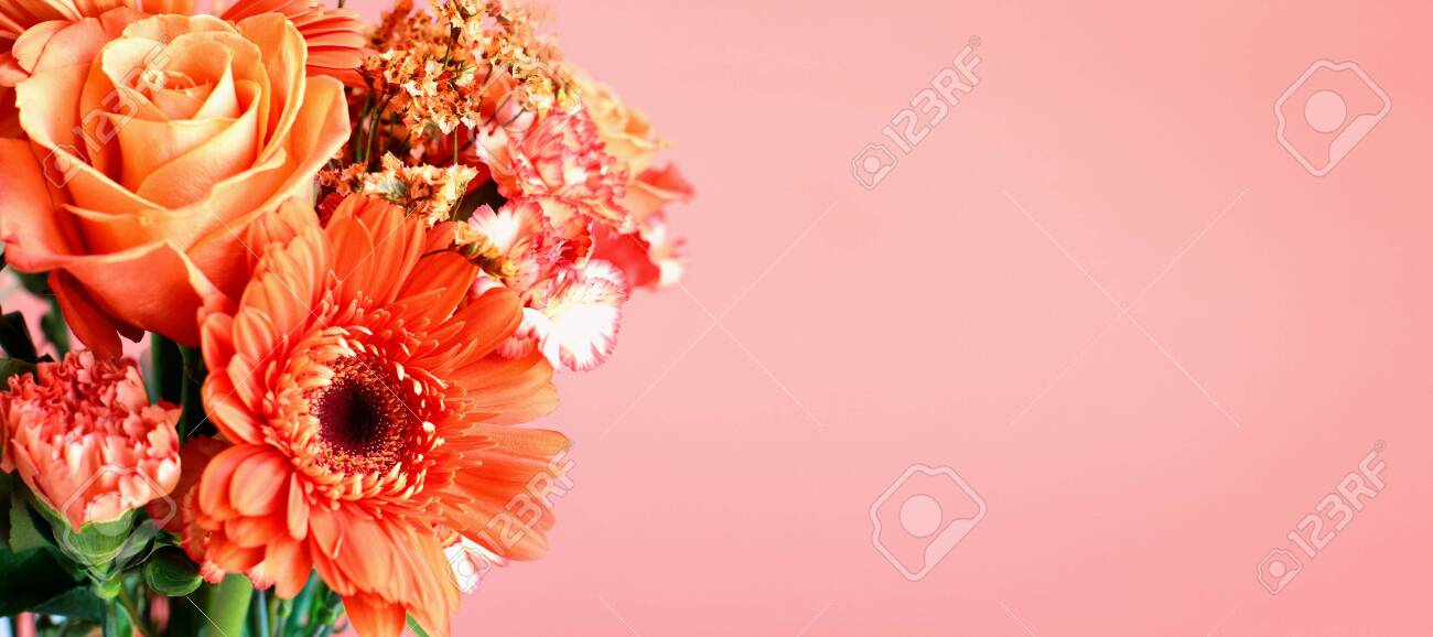 Bouquet Of Beautiful Coral Colored Flowers With Selective Focus Stock Photo Picture And Royalty Free Image Image 135158466