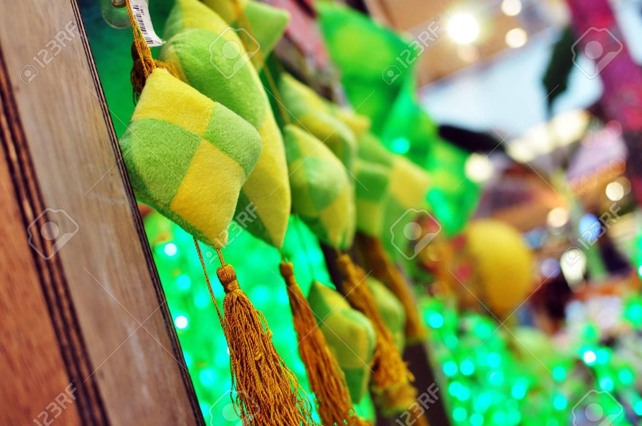 Close up ketupat decoration hanging on kampung house during hari