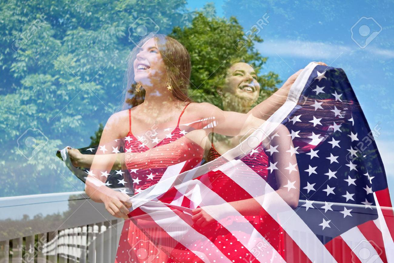 b88bbdfef7 Abstract creative double exposure of photos of patriotic woman waving the  American Flag for July 4th