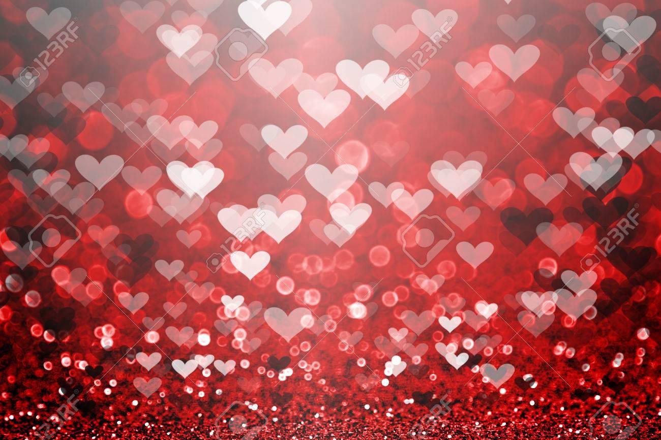 Red Valentine Day Glitter Sparkle Heart Background Stock Photo