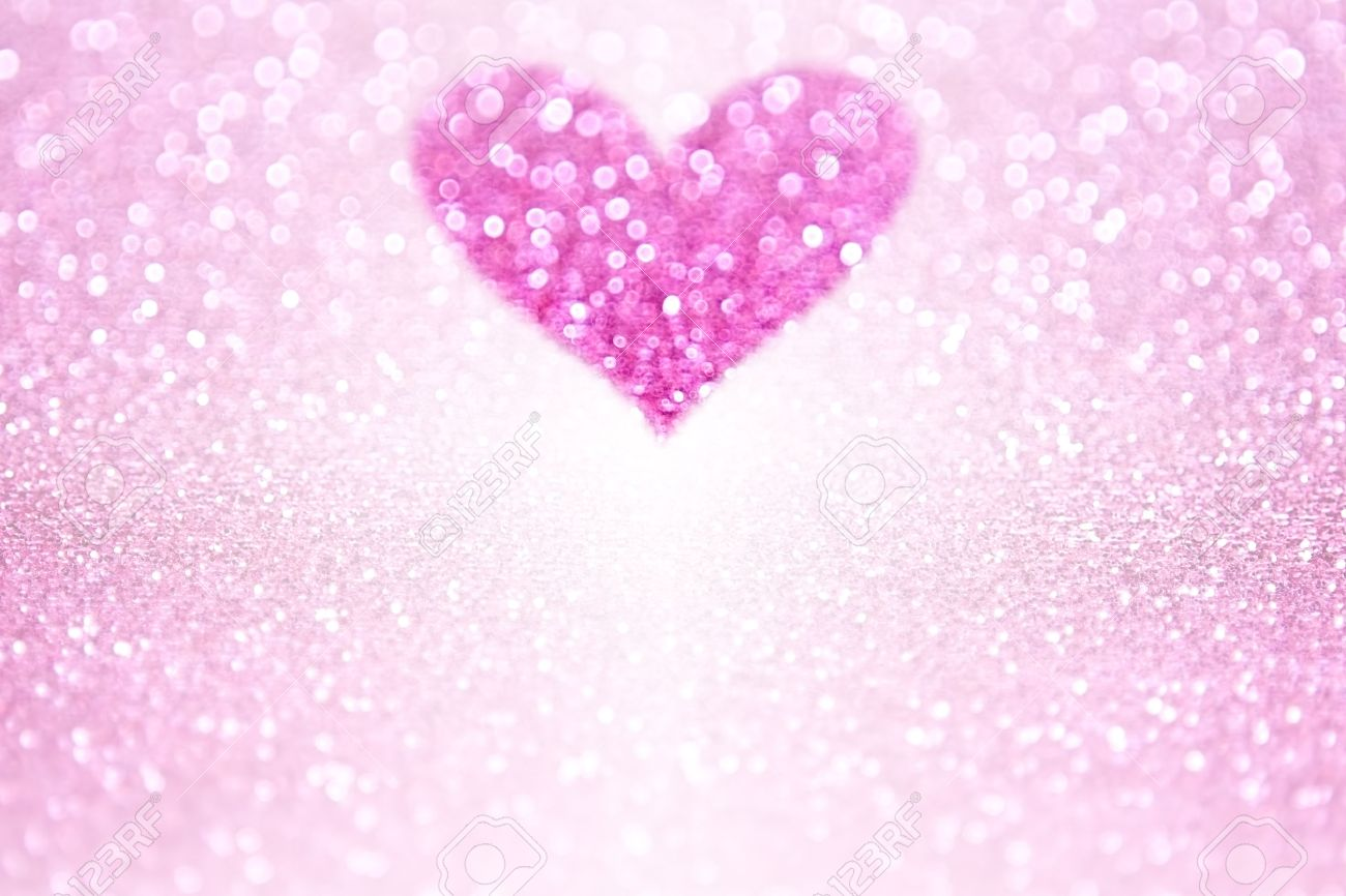 Pink Glitter Sparkle Heart Background For Valentine\'s Day Or.. Stock ...