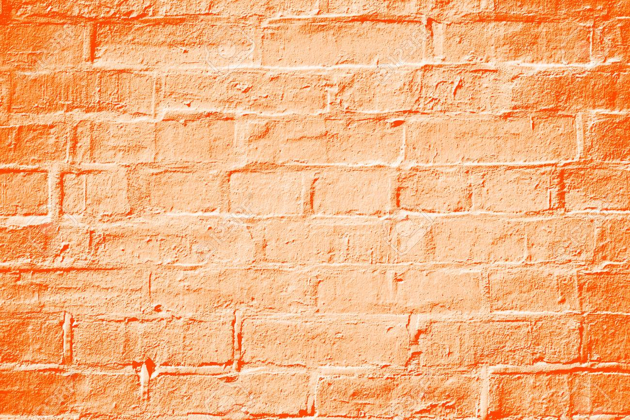 Abstract Orange Color Brick Wall Texture Background Stock Photo ...