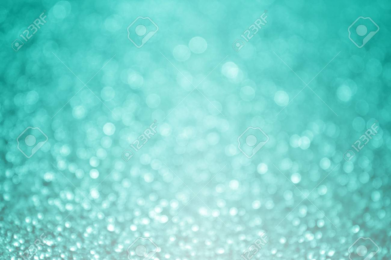 Abstract Teal Turquoise And Mint Aqua Green Glitter Sparkle Background Or Party Invitation Design Stock Photo