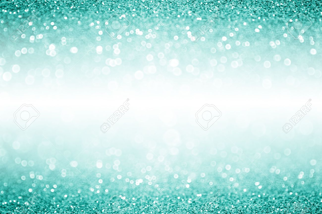 Elegant teal turquoise and aqua mint green glitter sparkle confetti background or party invitation for Christmas or birthday with white space - 64452543