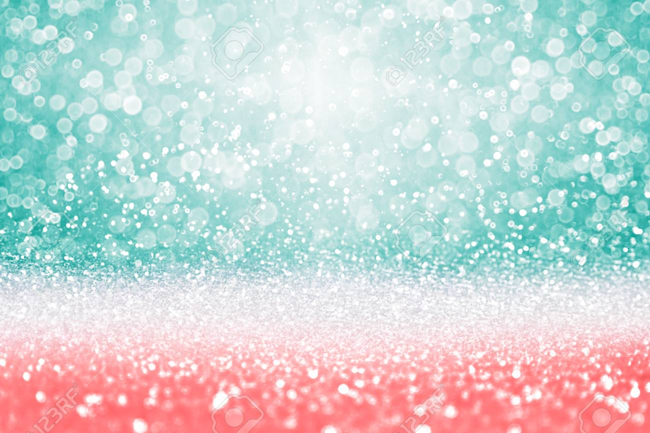 Abstract Teal Green Glitter, Coral Pink And Peach Sparkle Confetti ...