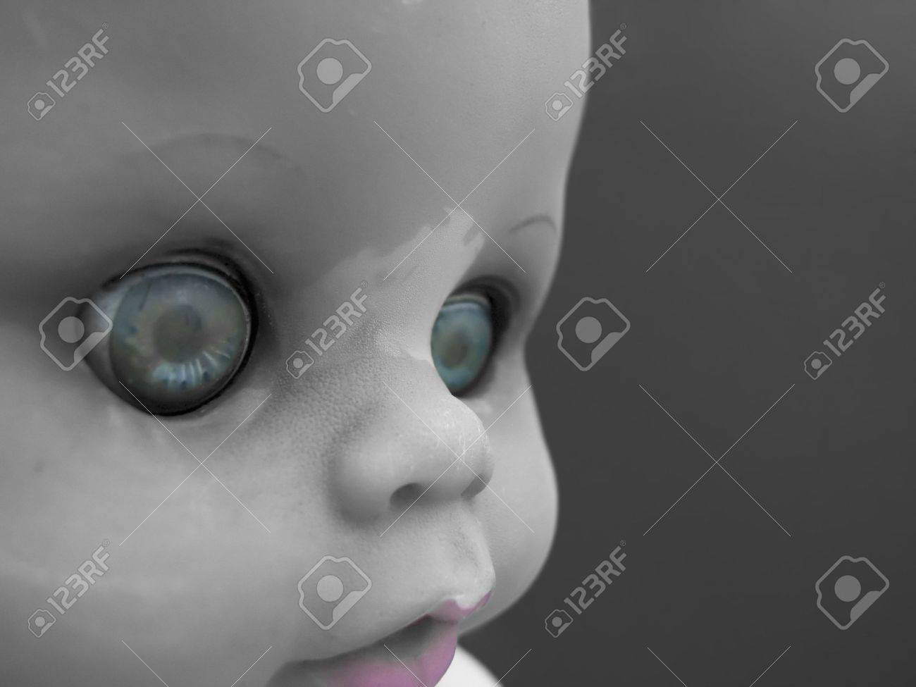 Portrait of an old doll with selective color Stock Photo - 490443