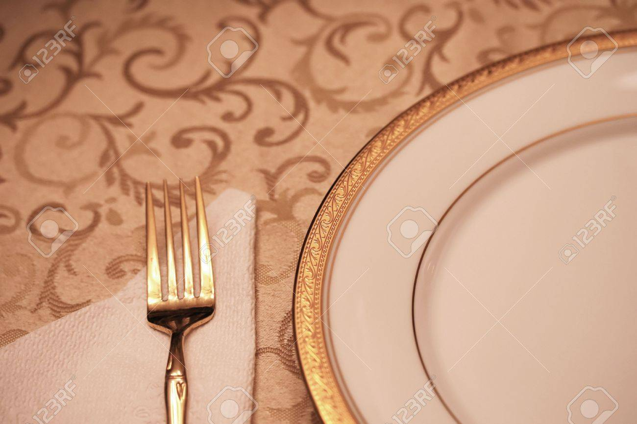 Elegant dinner table setting - An Elegant Dining Table Setting With Selective Depth Of Field Stock Photo 653181