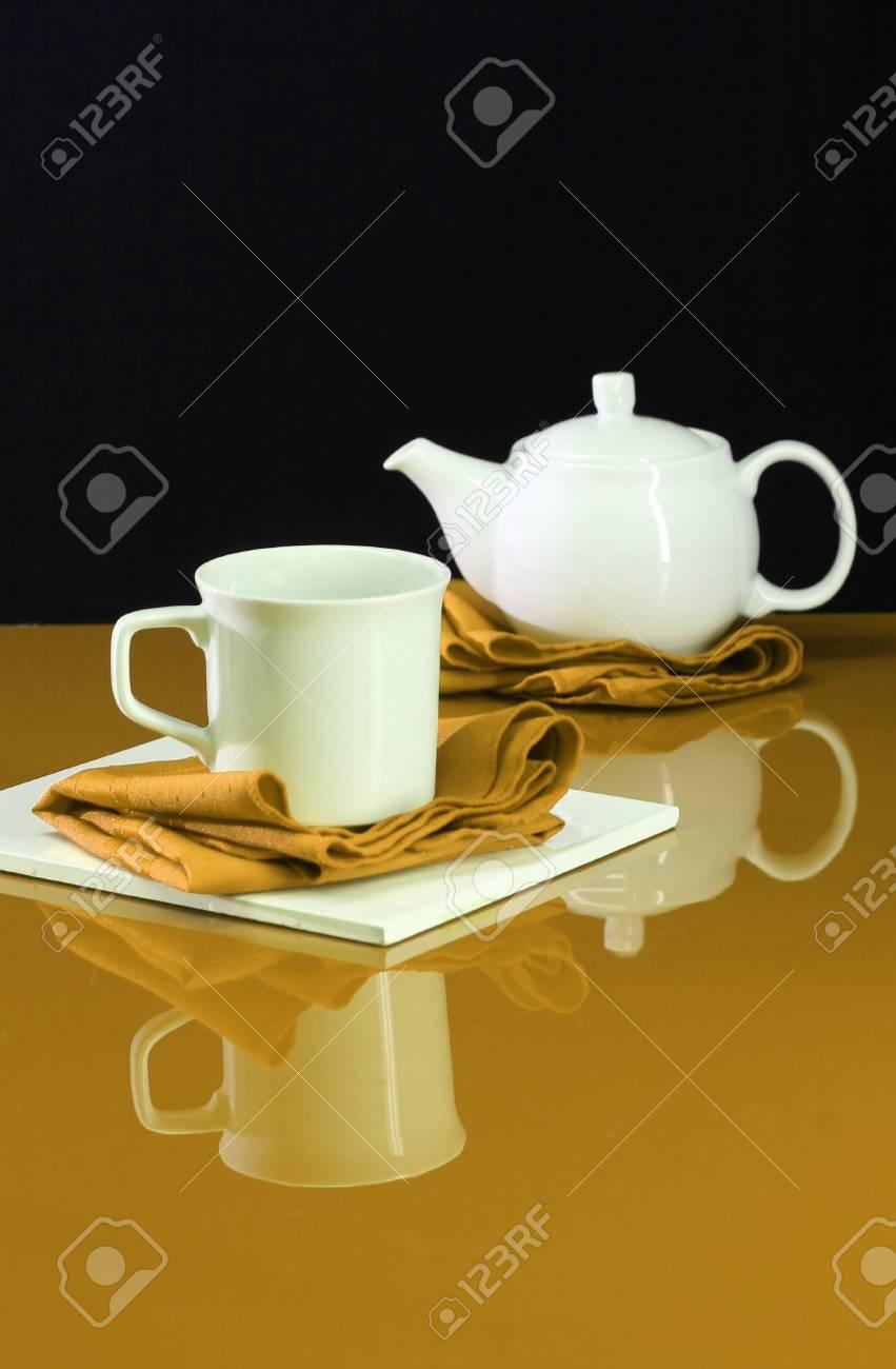 Eine Moderne Wohnkultur Schuss Einer Tabelle Für Tee Lizenzfreie ...