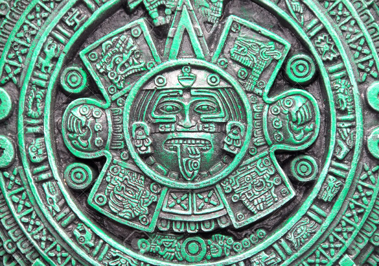 Calendario Azteca.Calendario Azteca En Ceramica Verde