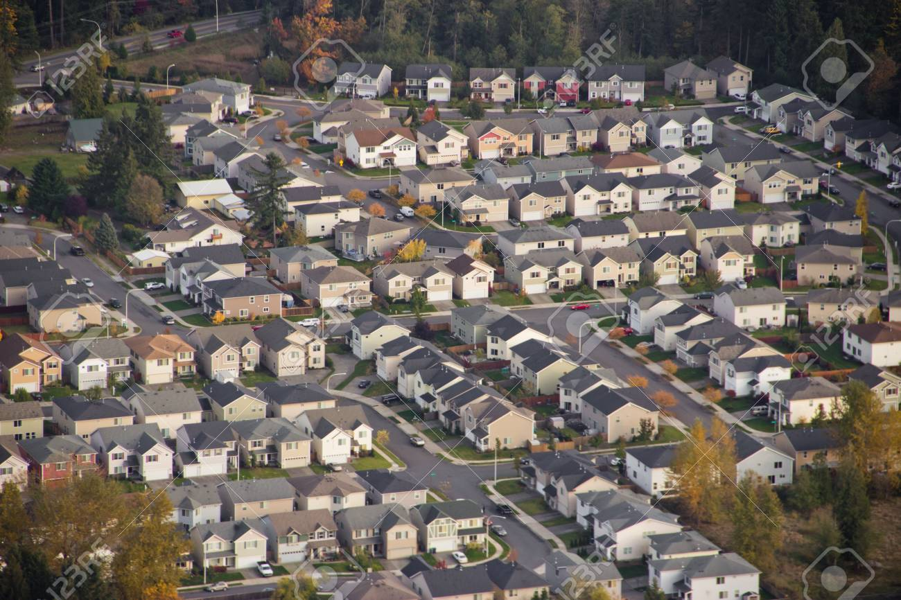 Aerial view of family homes on the hillside at sunset Stock Photo - 11268326