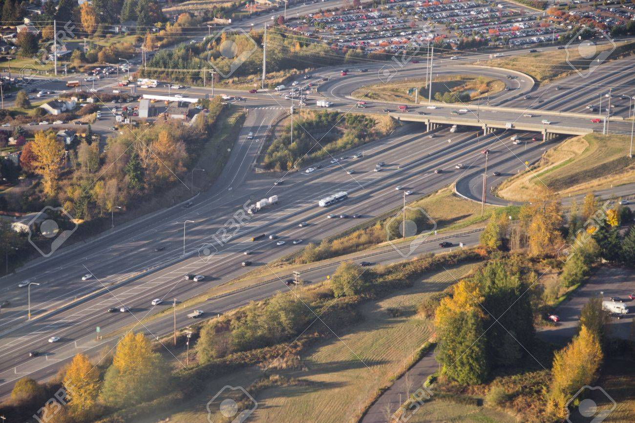 Aerial view of light commuting traffic passing an intersection Stock Photo - 16435580