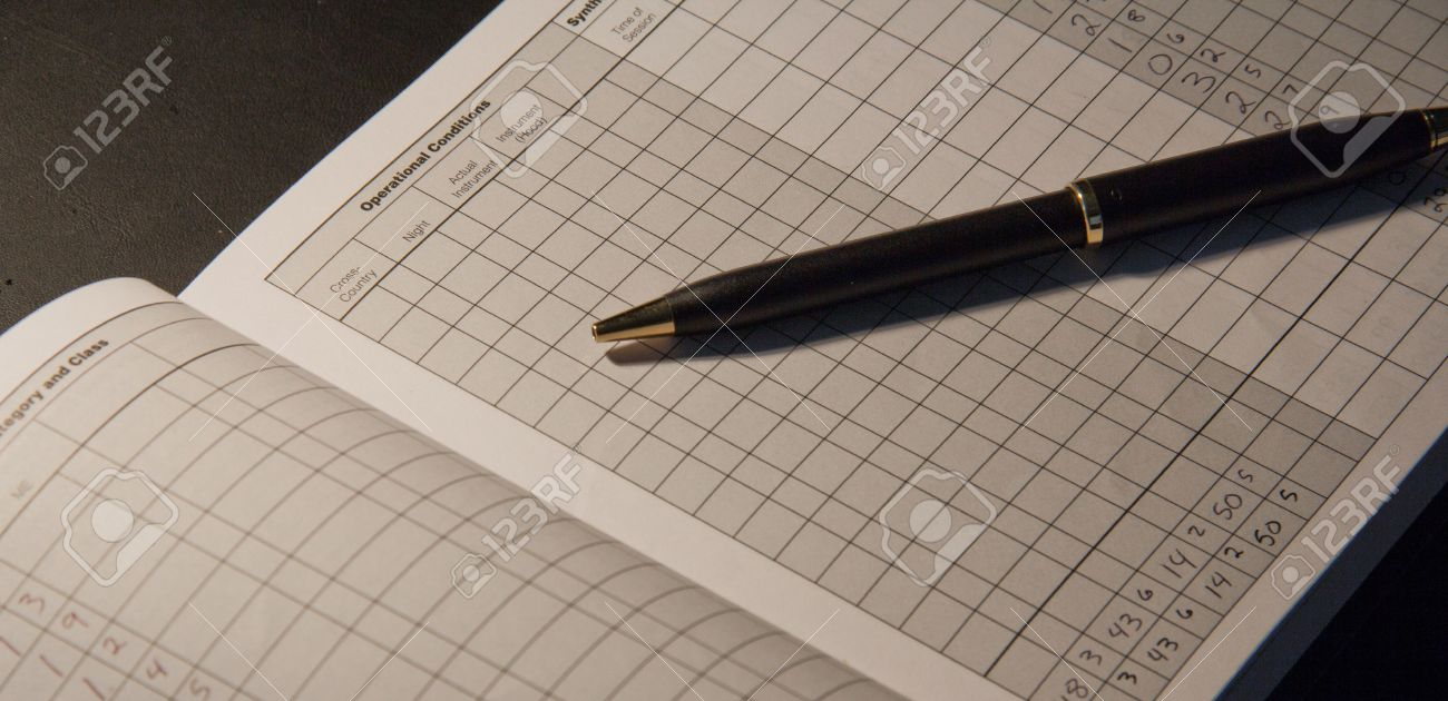 FAA Logbook for filling out pilot flight time Stock Photo - 16437283