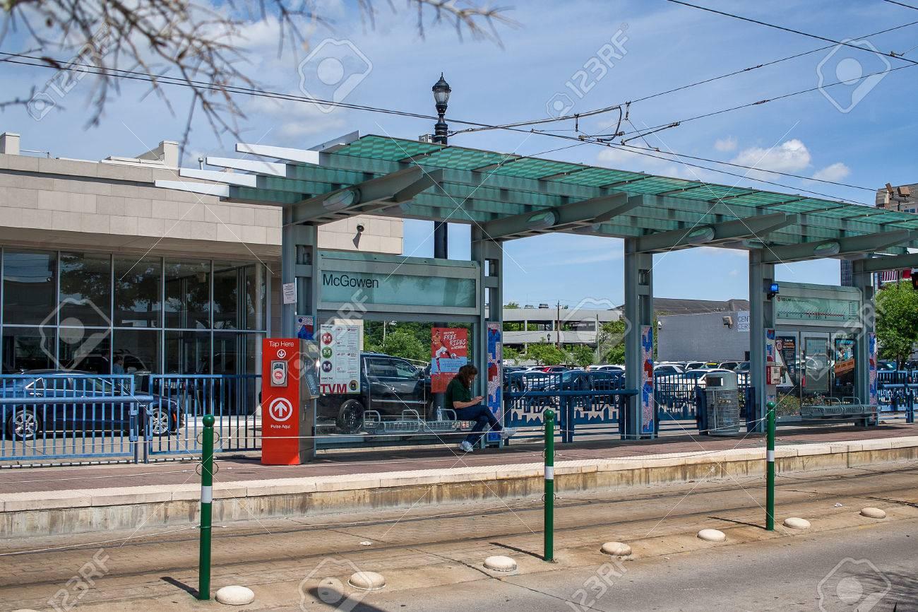 April 2017, Houston, Texas: Metro light rail station on Main