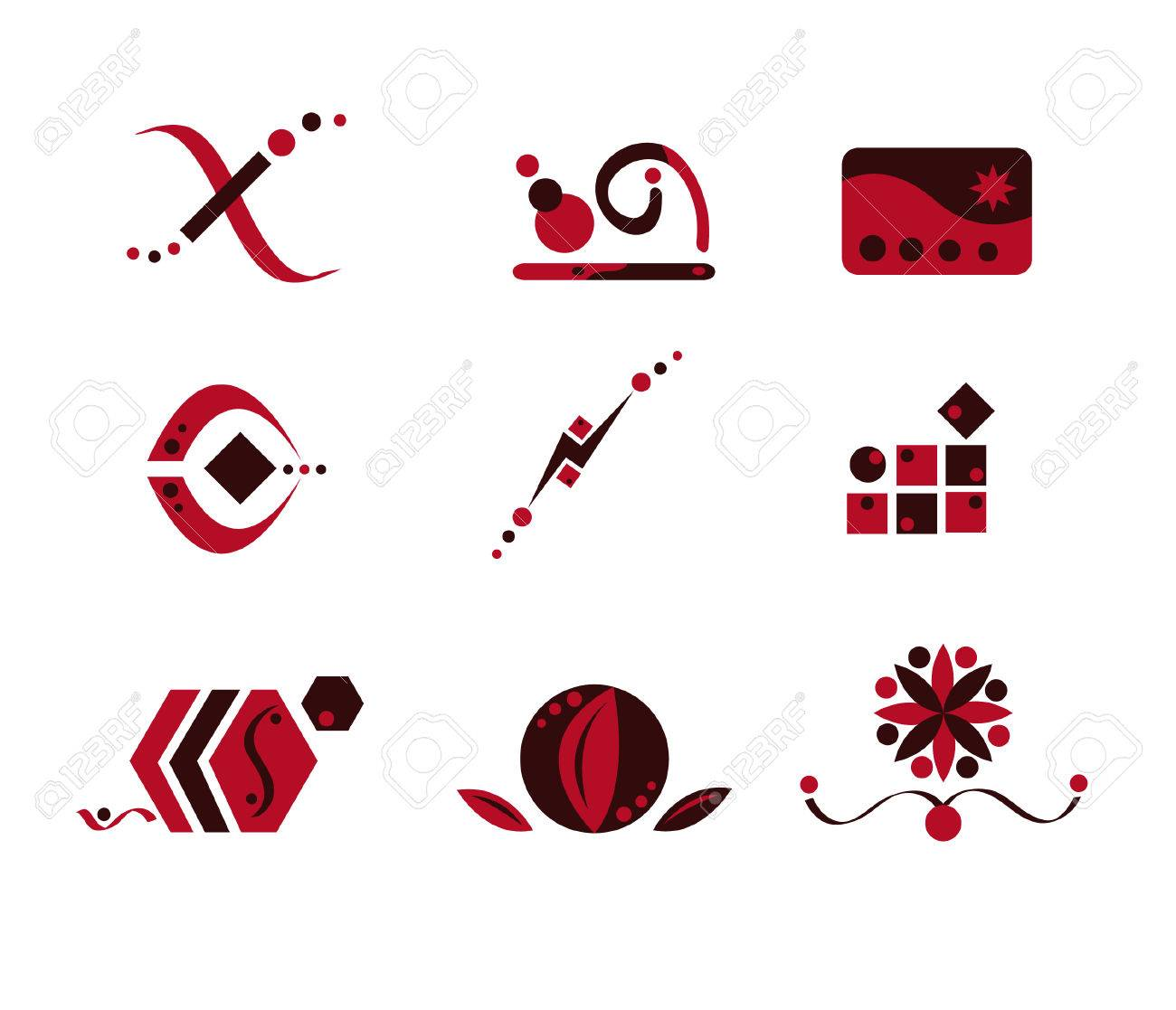 Pink and Brown Logo Elements Stock Vector - 3168815