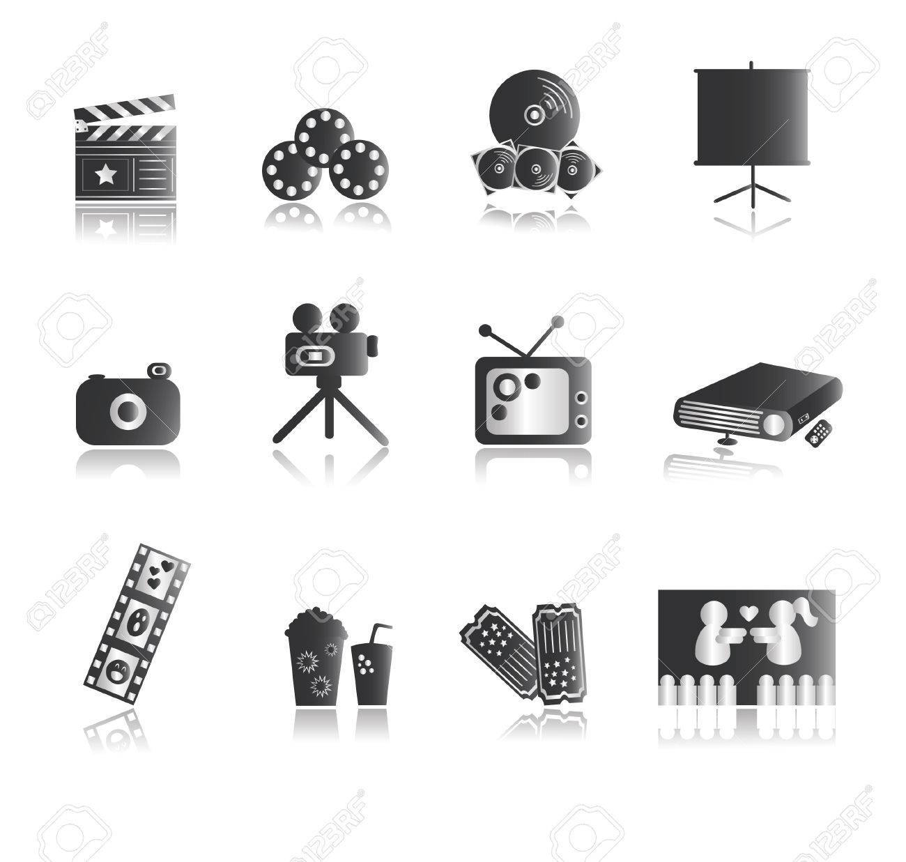 Silver Entertainment Icons with reflection Stock Vector - 3257187