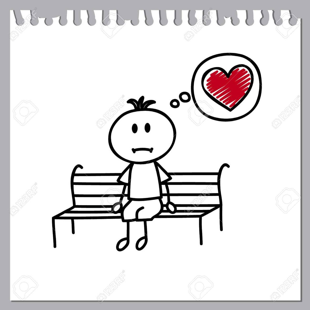 Sad little boy sits on a bench and dreams of lovecartoon doodle stock