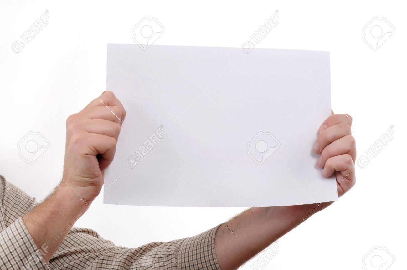 Man is holding a piece of blank white paper, presentation background image. Stock Photo - 6170375