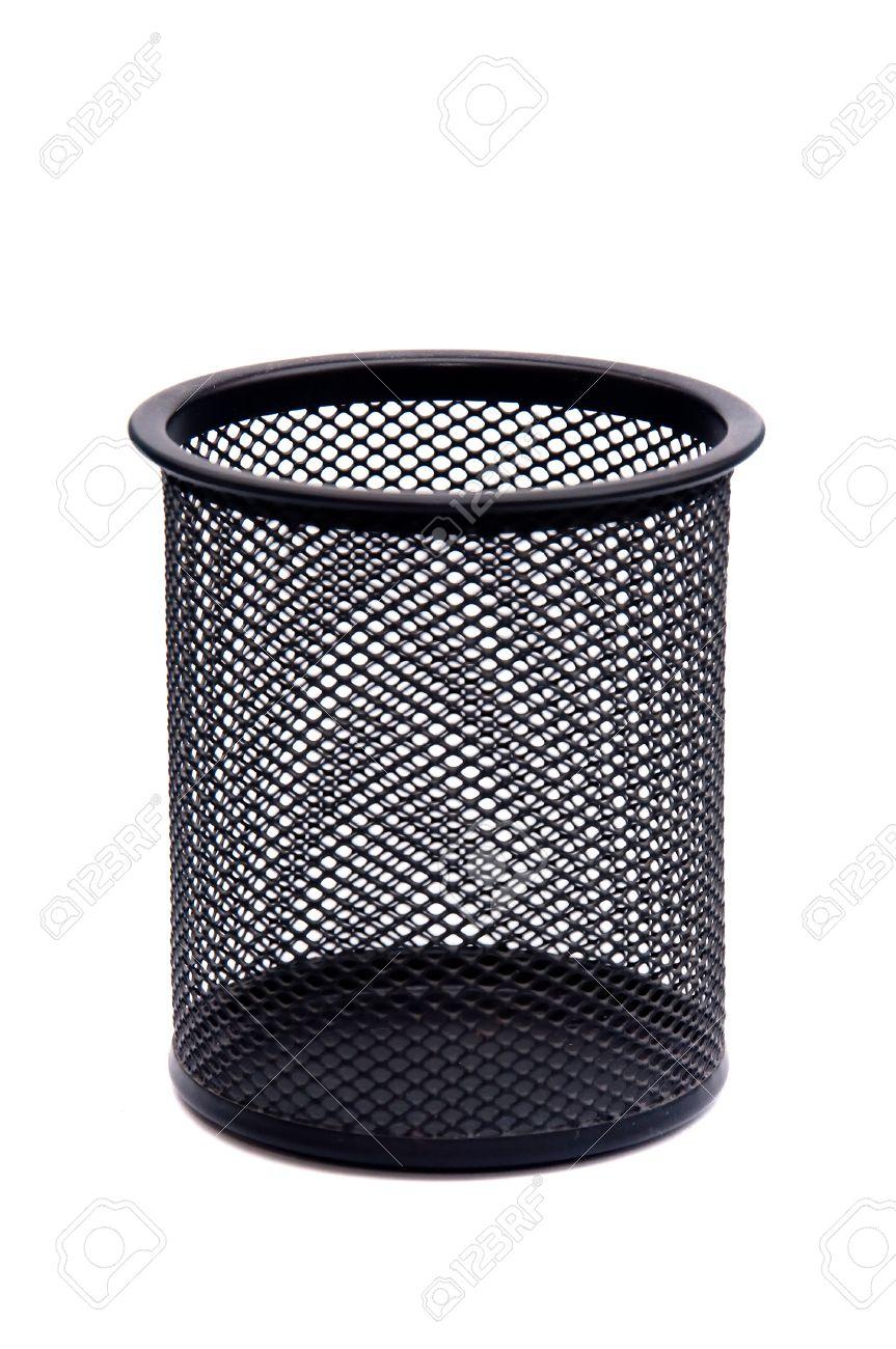 Empty Black Metallic Pencil Holder On White Background. Stock Photo ...
