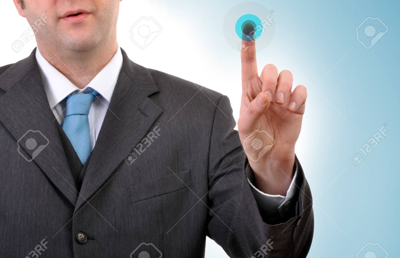 Businessman in dark suit  is pressing a touchscreen button Stock Photo - 7748189