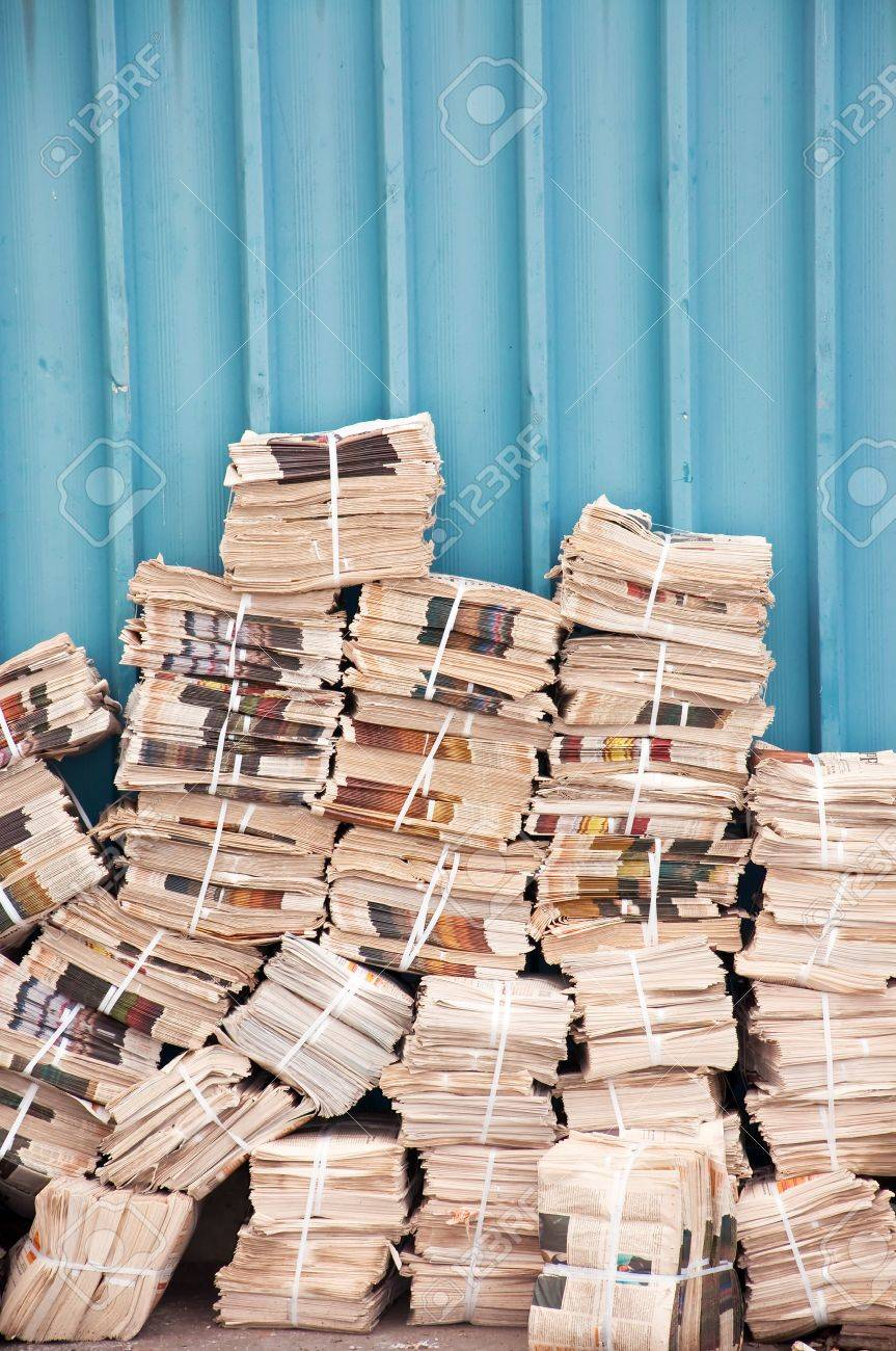 huge stack of newspapers in the backyard stock photo, picture and