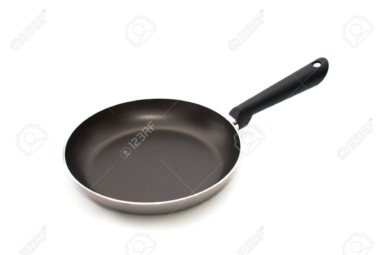 Large metal frying pan, image is taken over a white background Stock Photo - 8089184