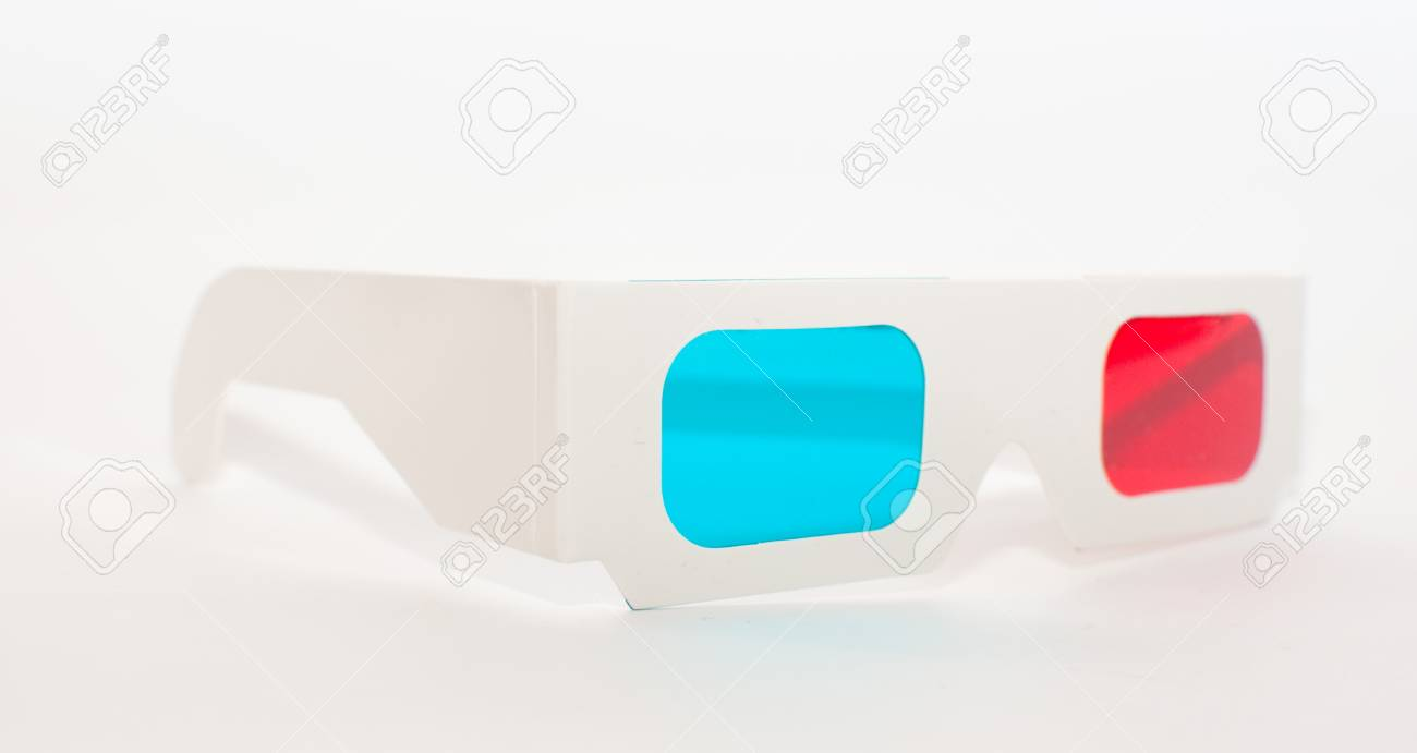A pair of high quality paper anaglyph 3D glasses. Stock Photo - 8799238