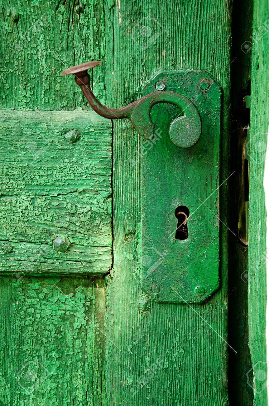 Old ruined green wooden door detail with metal hinge Stock Photo - 9758117