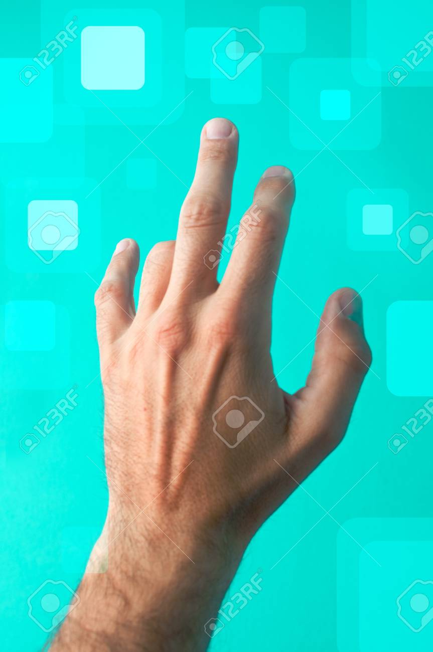 Man is pressing a touchscreen button Stock Photo - 9919223