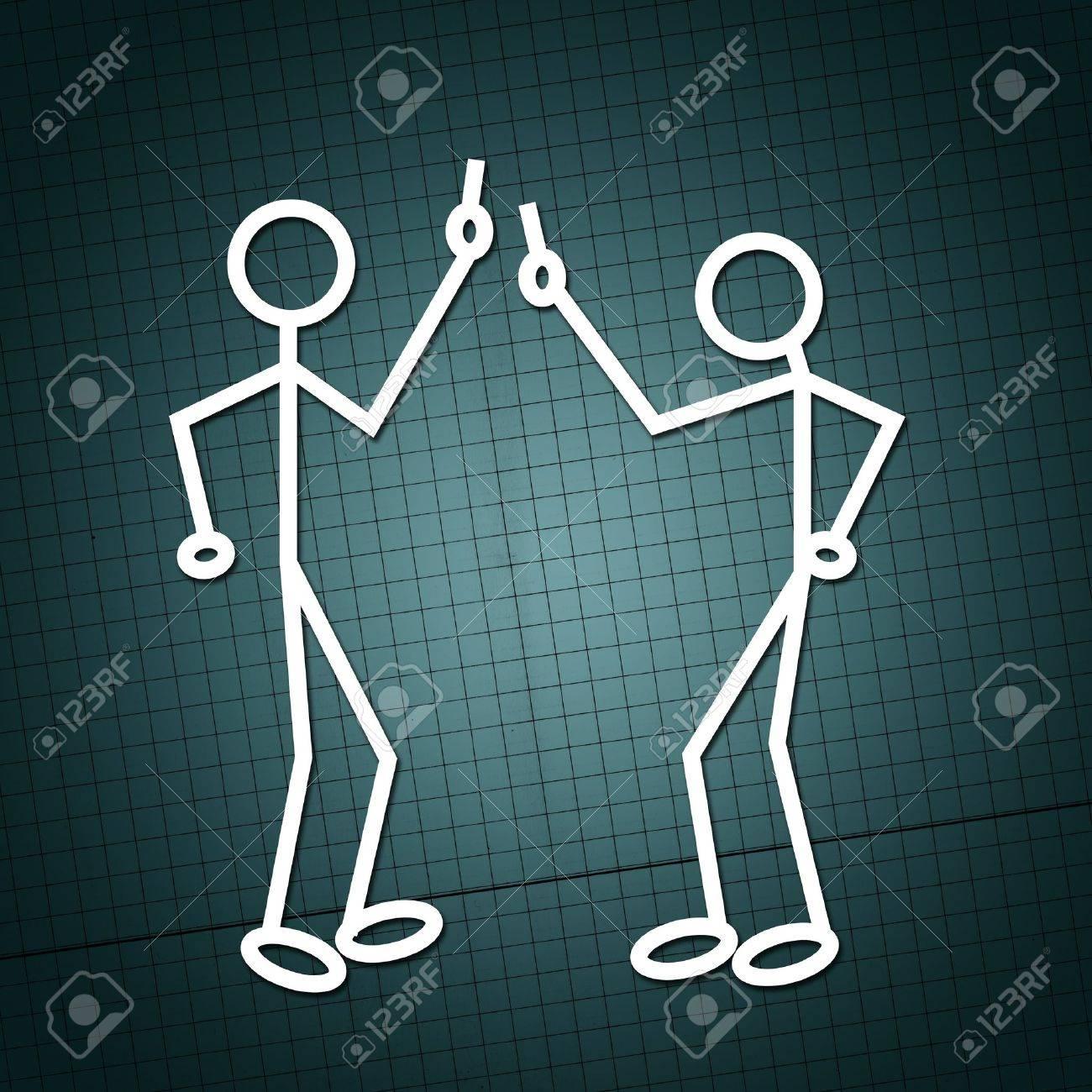 Simple drawing of two humanoid figures having an argue over a paper texture Stock Photo - 10252316