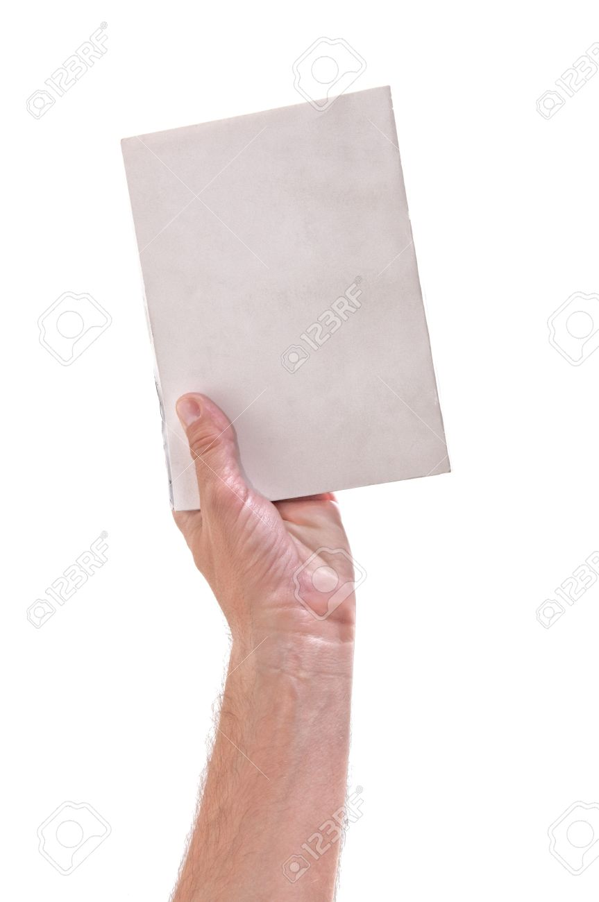 Hand holding a book with blank covers, over a white background Stock Photo - 10901726