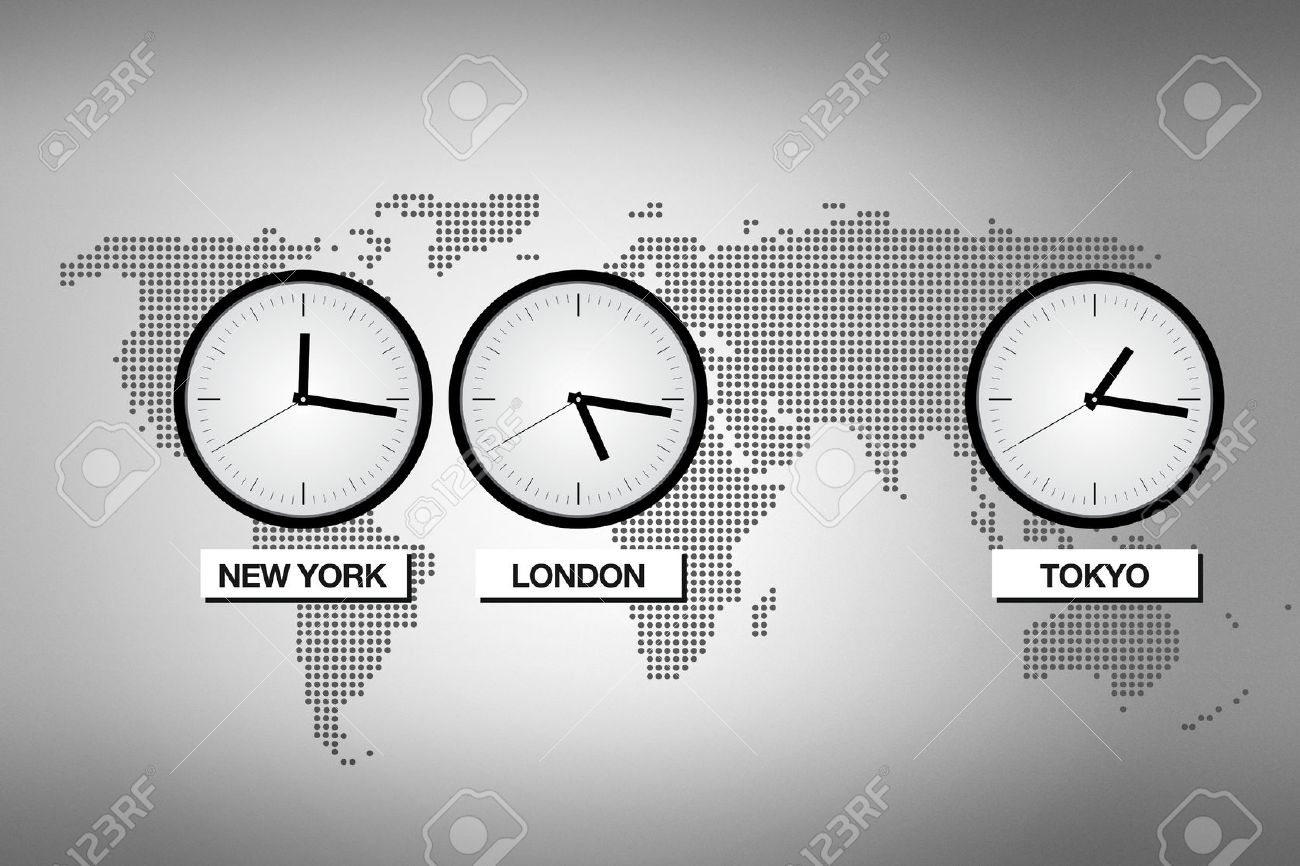 Abstract world map with clocks representing different time zones in big cities like Tokyo, London and NEw York. Stock Photo - 11596988