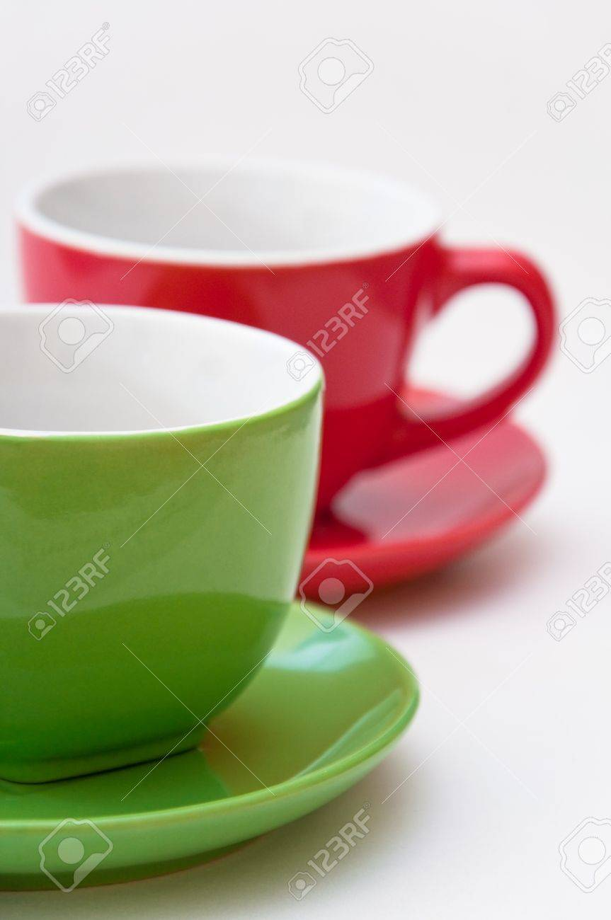 green and red coffee cups close up image stock photo picture and