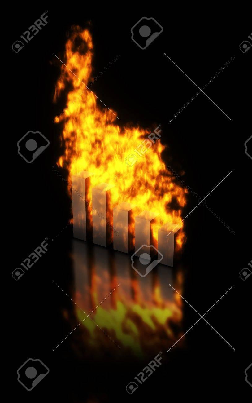 Bar charts burning, abstract image of fast increasing or decreasing of values Stock Photo - 12752186