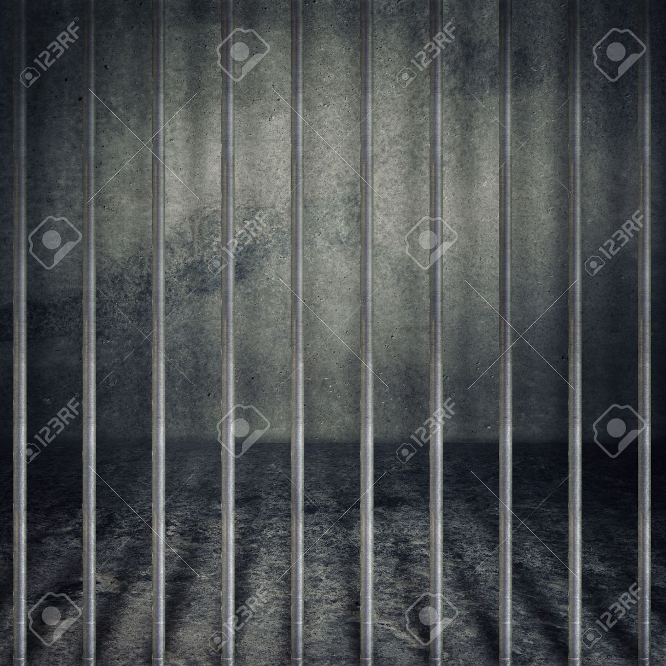 Obsolete gray grunge concrete room, prison cell with metal bars. Stock Photo - 14792263