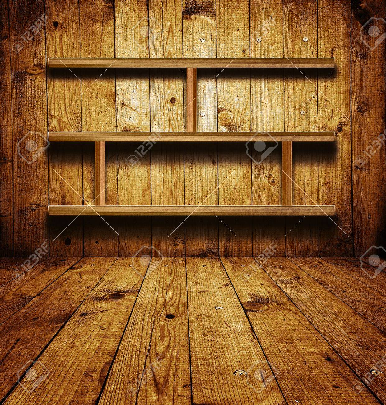 Vintage wooden bookshelf over a grungy background Stock Photo - 16772058