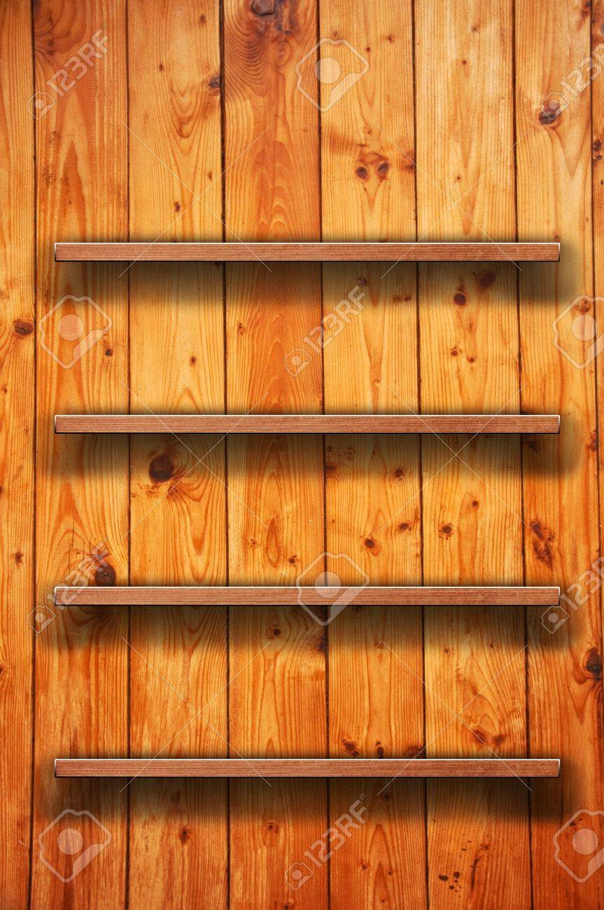 Vintage Wood Bookshelf On A Wooden Wall Stock Photo Picture And