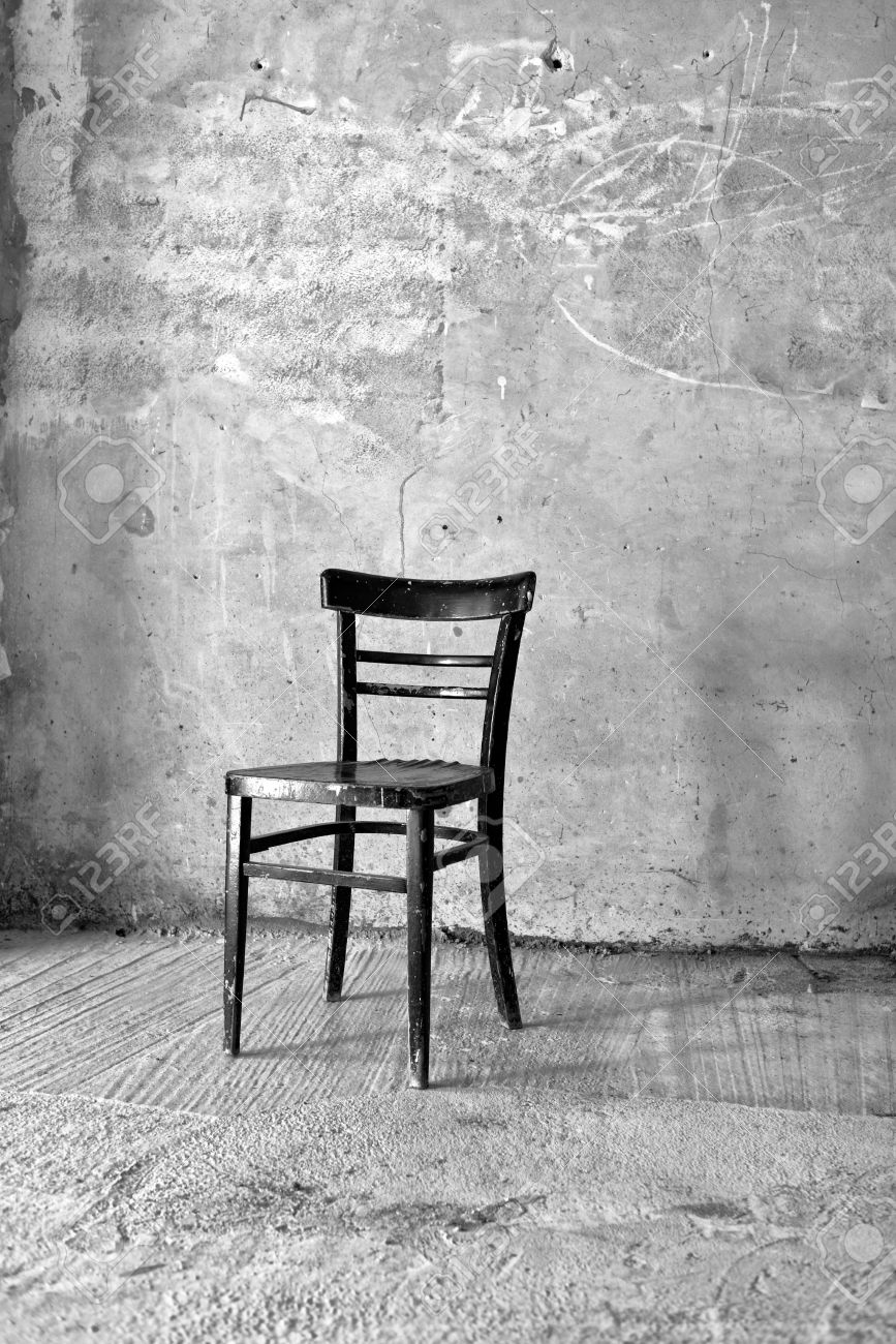 Black and white chair photography - Vintage Old Black Wooden Chair In Grungy Interior Loneliness Estrangement Alienation Concept