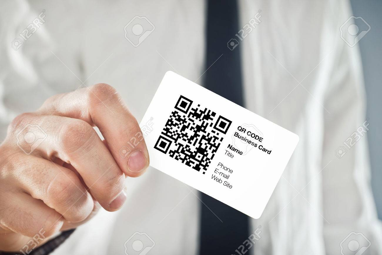 Businessman Holding QR Code Business Card With Personal Data.. Stock ...