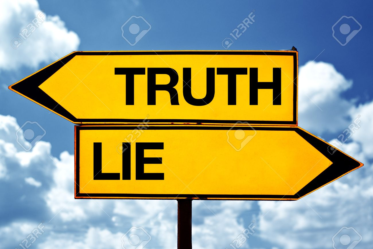 Truth or lie opposite signs Two blank opposite signs against blue sky background - 25824526