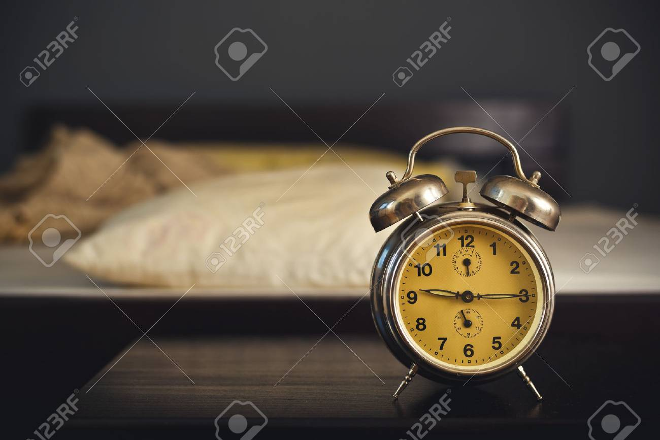 Superior Stock Photo   Vintage Alarm Clock In Bedroom On A Night Table By The Bed