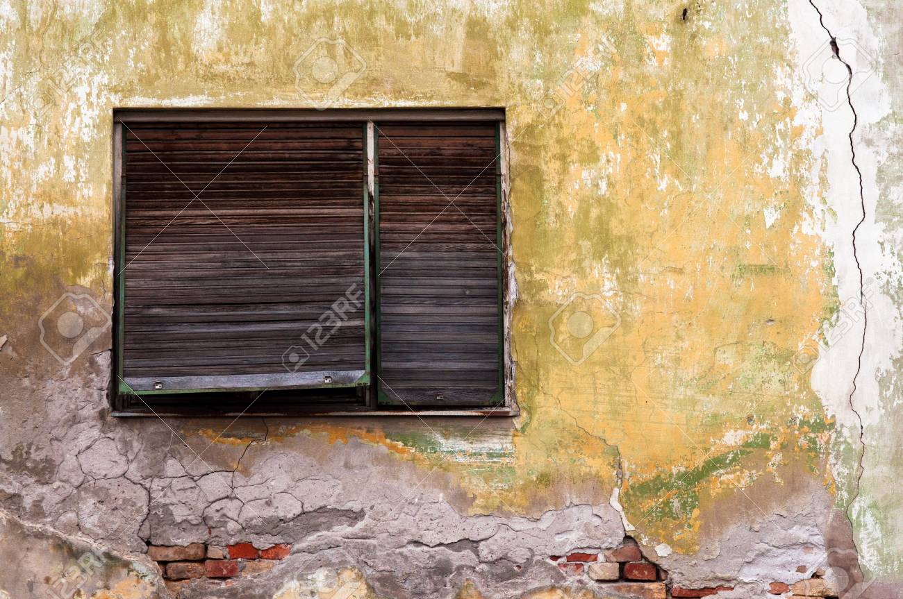 Old Window With On Obsolete Grunge Cracked Wall Stock Photo, Picture ...