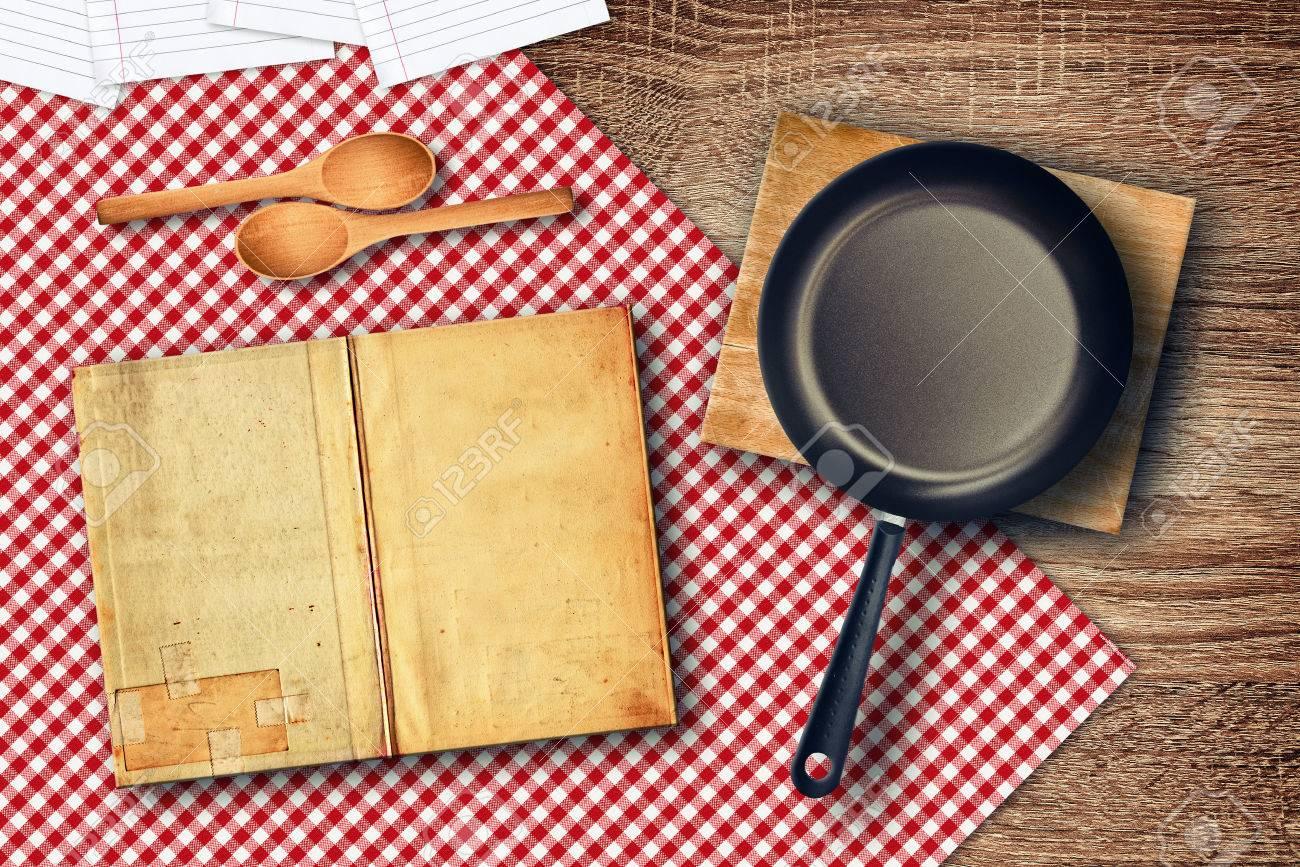food preparation on kitchen table. various kitchen utensils on