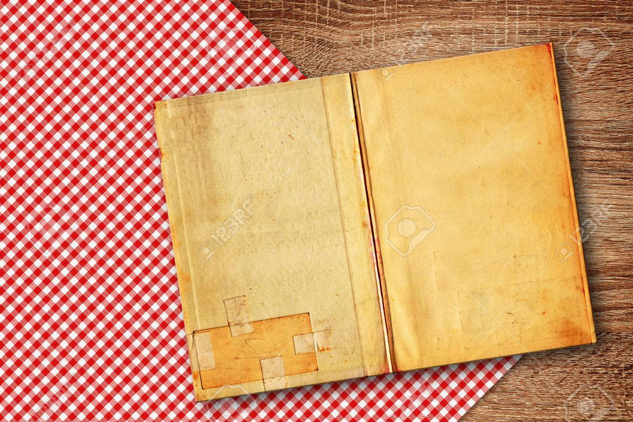 Kitchen Table Background Old Recipe Book On Kitchen Table Background With Copy Space