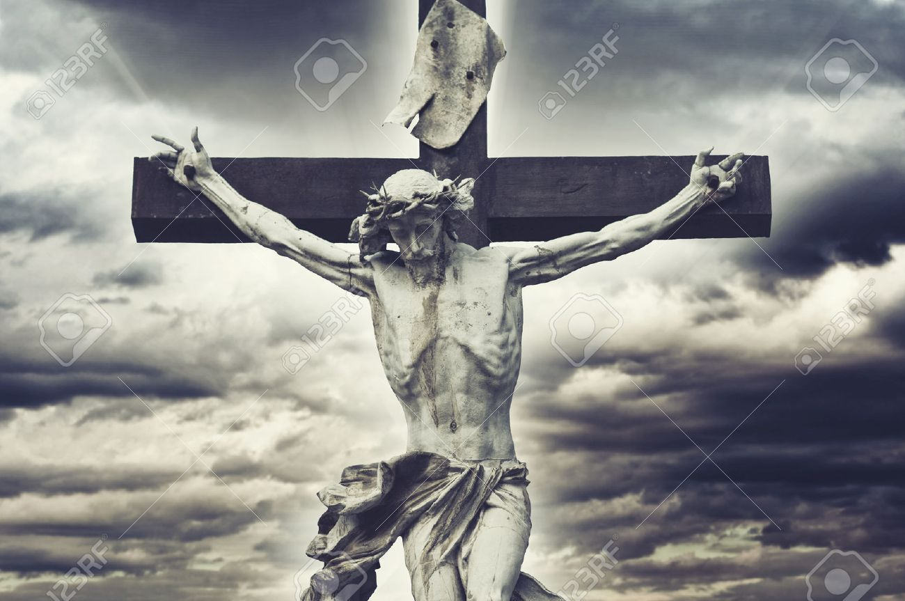 Crucifixion Christian Cross With Jesus Christ Statue Over Stormy - Christian religion