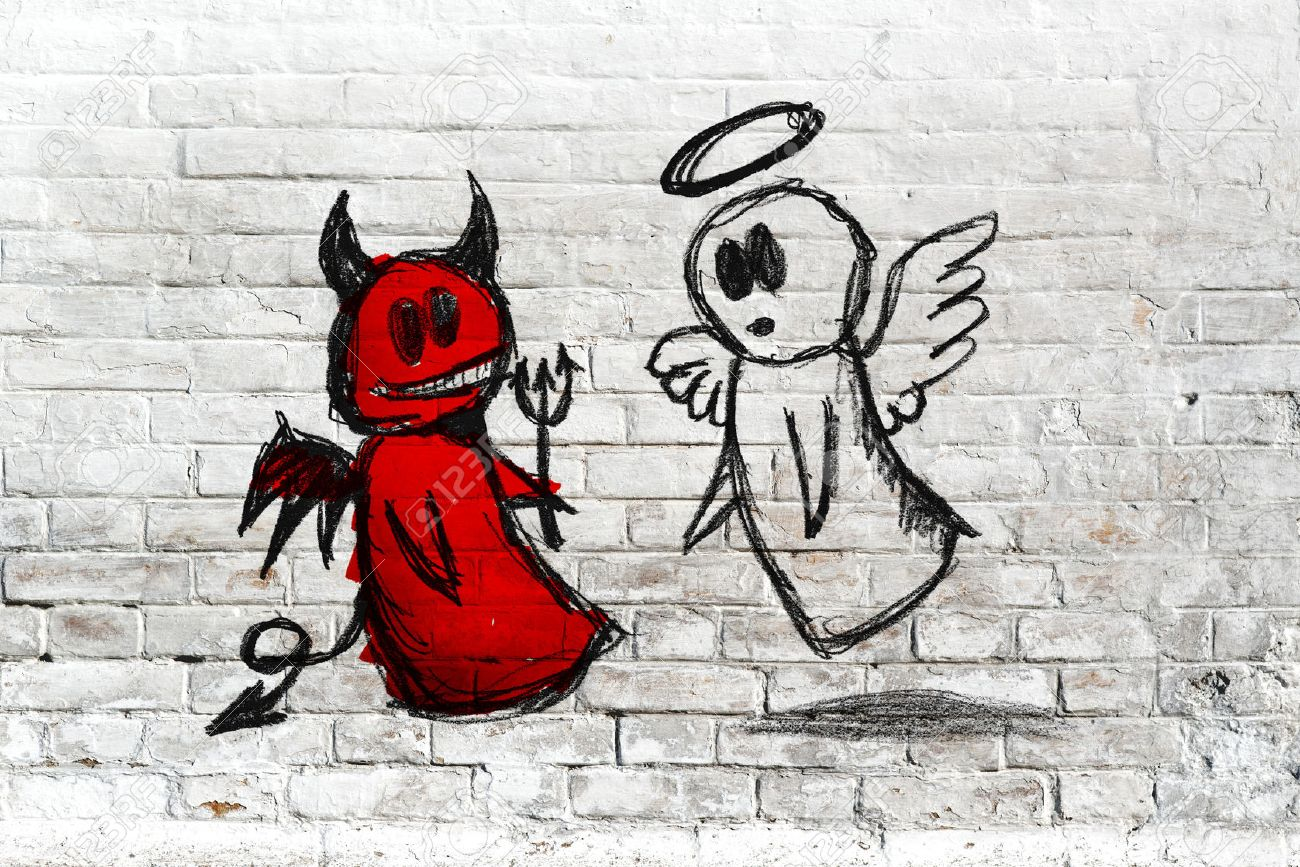 Doodle drawing of angel and devil fighting on white brick wall. Concept of conscience; decisions, uncertainty, moral dilemma; fight of good and evil. - 27835116