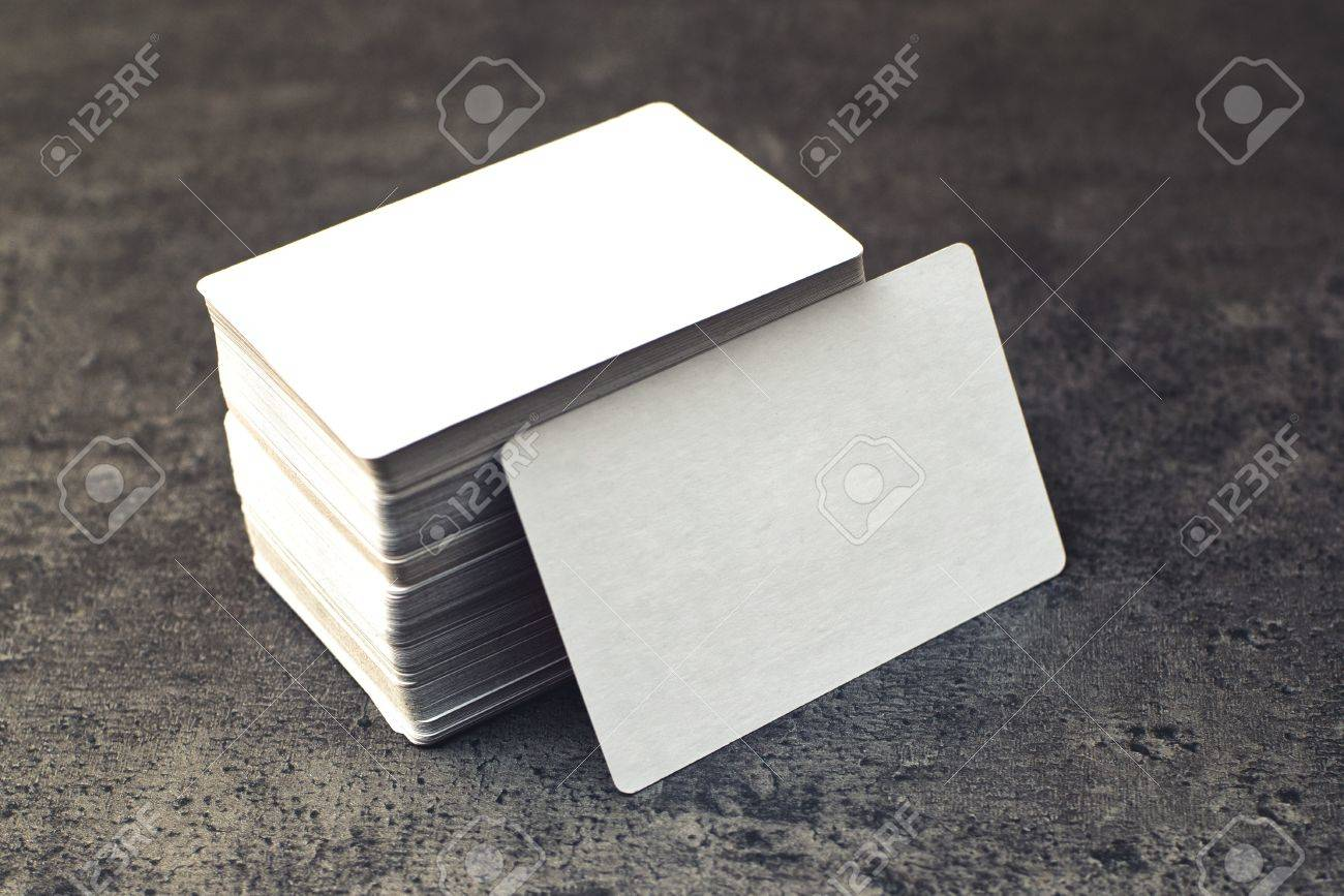 Business Cards With Rounded Corners. Stack Of Blank Horizontal ...