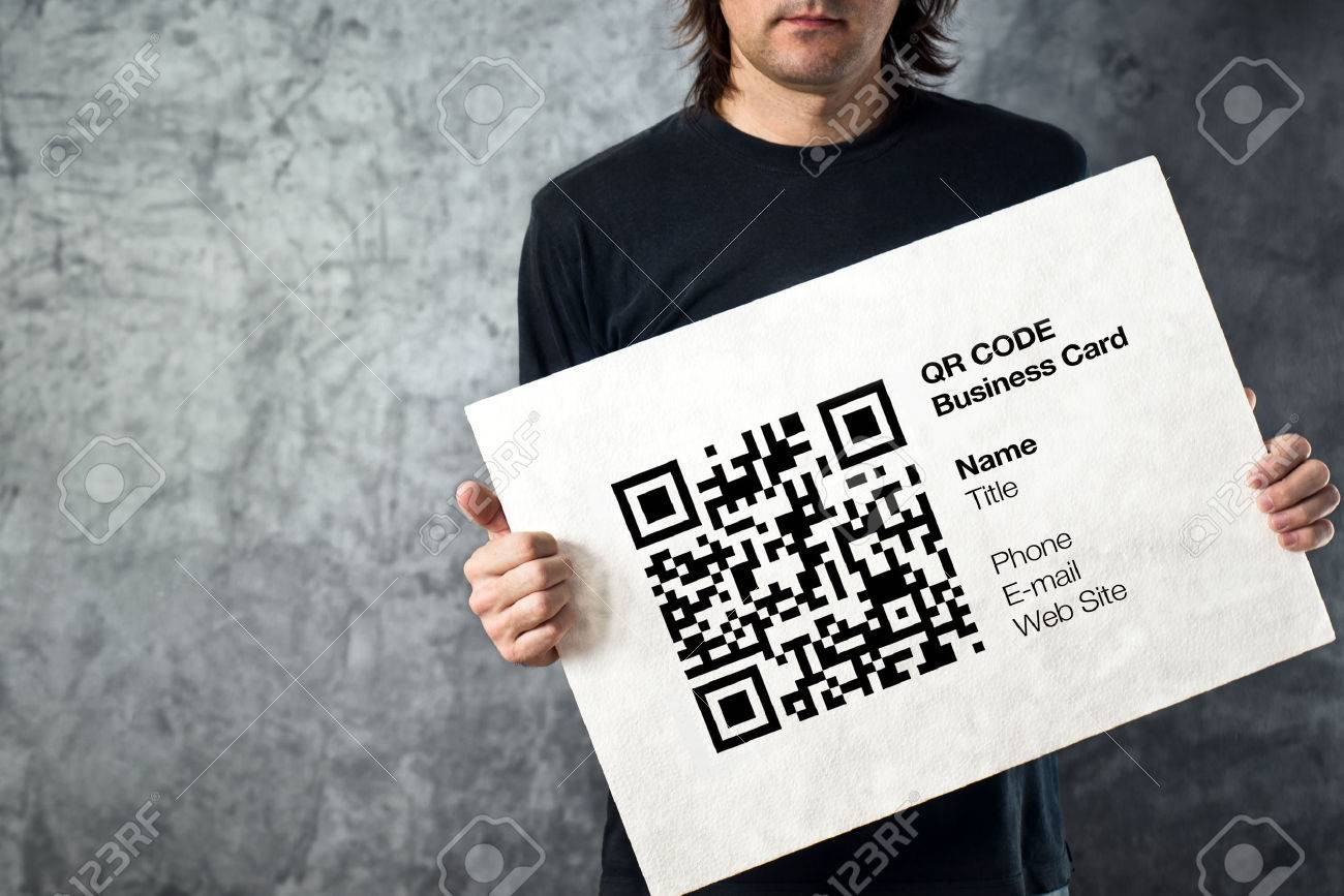 Man Holding QR Code Business Card With Personal Data. Modern.. Stock ...