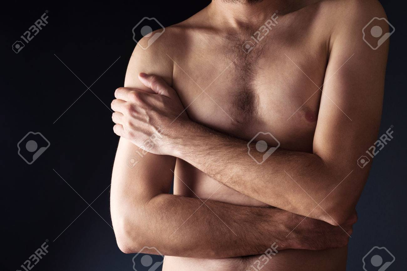 Thin man torso  Shirtless male with crossed hands Stock Photo - 28800833