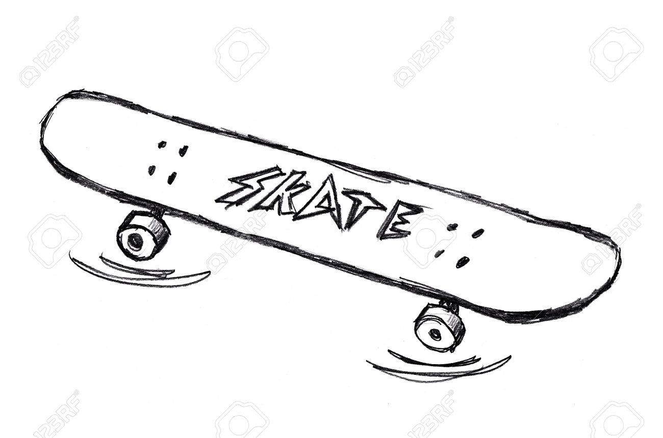 c15e45ce1d921 Simple skateboard doodle drawing on white . Stock Photo - 29342609